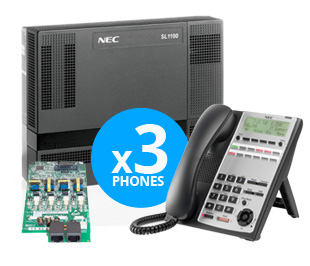 NEC SL1100 Digital System Kit w/ (3) 12-Key Phones 4x8x4 1100001