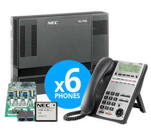NEC SL1100 Digital System Kit w/ (6) 12-Key Phones, 2Port VMail 4x8x4 1100005