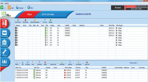 line logger call management software allows you to interface to the call recorder via your local area network and review the calls stored on the call