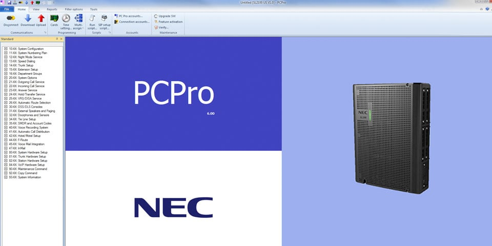 How to Import an NEC SL2100 Database using PCPro Administrator Software
